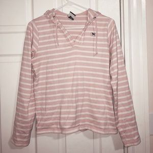 Pink and white striped sweatshirt!